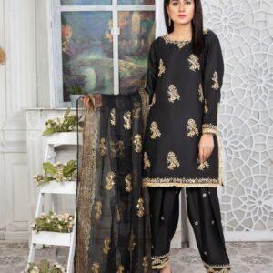 black raw silk embellished