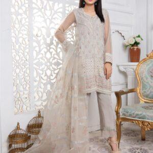grey organza embellished gown